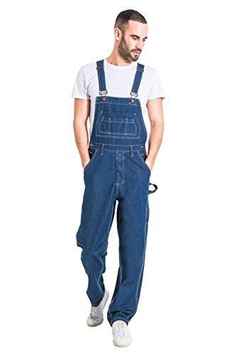 Wash Clothing Company Salopette di Jeans Uomo Relaxed Fit - Stonewash Overalls a Buon Mercato MADDOXSW-M-34