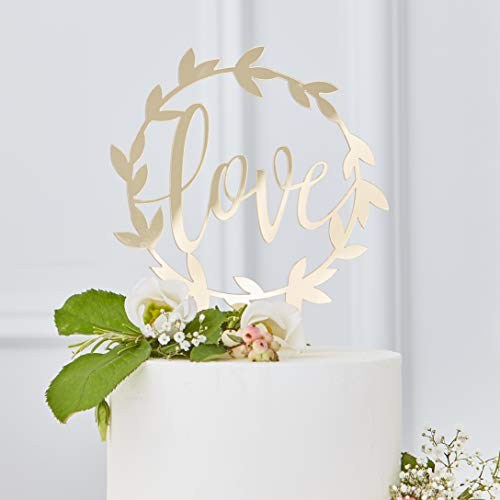 Ginger Ray Gold Scripted Acrylic Love Wedding Cake Topper Decoration Single...