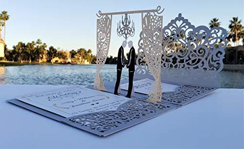 Pop up Mr. and Mr. wedding invitations
