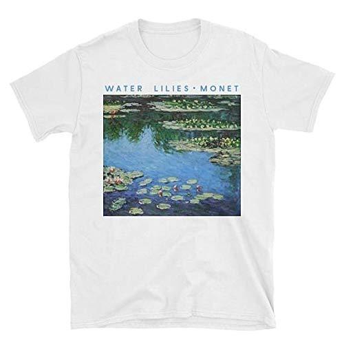 Man Claude Monet Painting Water Lilies T-Shirt Unisex Tumblr Grunge Graphic Tee Art Aesthetic Shirt Casual White Tops