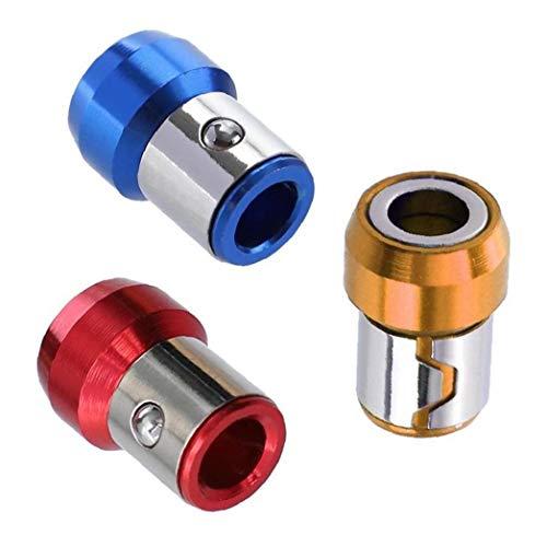 Potente universal magnética del anillo Full Metal destornillador Plus Imán azul amarillo rojo de herramientas magnético de 6,35 mm Soporte 3PCS