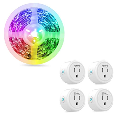 TV LED Backlight 1 Pack & Smart Plug 4 Pack, Compatible with Alexa Google Home, Gosund App Remote Control, Only Supports 2.4GHz Network, No Hub Required