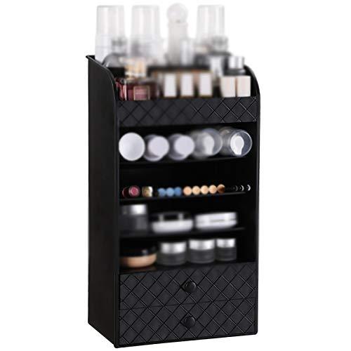 Organizador de maquillaje Caja de almacenamiento cosmético Tipo de cajón de escritorio Separado Tocador Multi-capa Estante Organizadores de cuidado de la piel ( Color : Black , Size : 22.5x15x41.5cm )