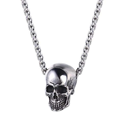 YYJL 4 Style Gothic Horn Evil Devil Demon Skull Pendant Necklace Stainless Steel The Eyes of Horus Hip Hop Necklace Jewelry for Men 9