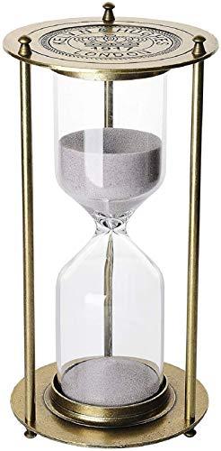 KSMA 60 Minutes Hourglass Sand Timer,Brass-Tone Metal Hour Glass with White Sand