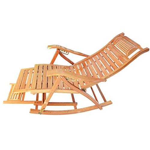 DJPP Liegestuhl, Bambus-Sonnenliege Schaukel-Liegestuhl - Ergonomische Holzliege Für Garten-Patio-Pool-Sauna, Unterstützung 200 Kg