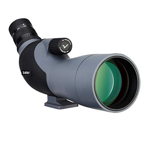 Svbony SV402 Spotting Scope 16-48x60 High Power HD Compact Portable Monocular FMC Porro Prism Wide Field 45 Degree Angled Eyepiece Spotting Scope for Target Shooting Hunting Archery