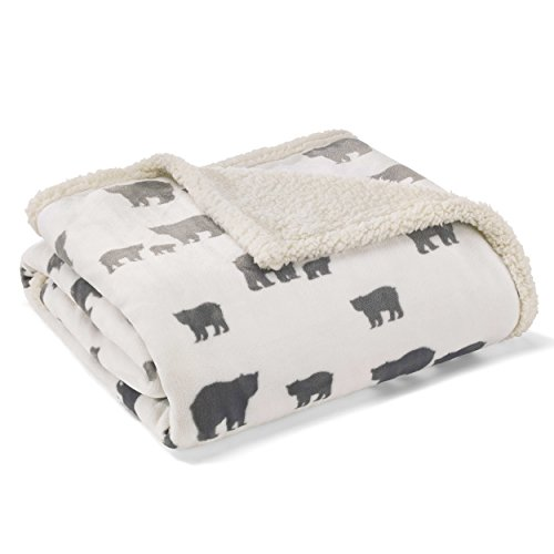 Eddie Bauer Ultra-Plush Collection Throw Blanket-Reversible Sherpa Fleece Cover, Soft & Cozy, Perfect for Bed or Couch, Bear Village