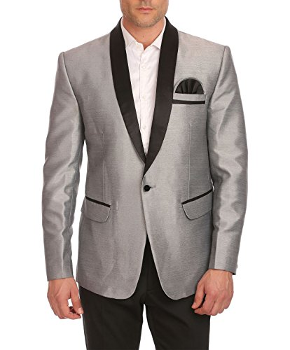 WINTAGE Men's One Button Shawl Collar Party Silver Blazer Coat