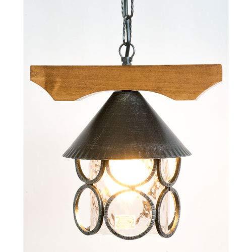 Lanterne modèle ALPI en fer forgé insert bois pour intérieur extérieur