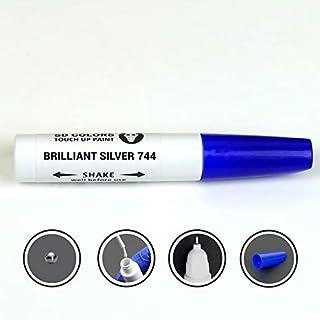 SD COLORS Brilliant Silver 744 Lackstift Reparatur Set, 12 ml, Pinsel mit Kratzabsplitterung, Farbcode 744 Brilliant Silver (Farbe