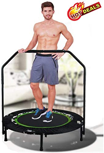 Oppikle Fitness-Trampolin Mini Faltbares Trampolin mit dem verstellbaren Handlauf Fitness Training Trampolin, Nutzergewicht bis 135kg, Trampolin für Jumping (Nicht Justierbare Beine - Grün)
