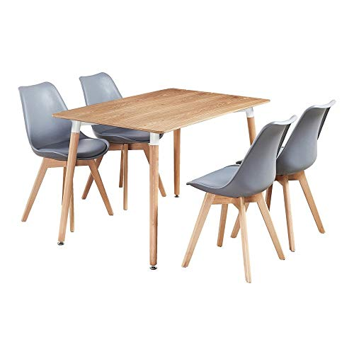 P&N Homewares® Lorenzo Dining Table and 4 Chairs Set Retro and Modern Scandinavian Dining Set White Black Grey Red Pink Green Chairs with Wood Brown Dining Table (GREY)