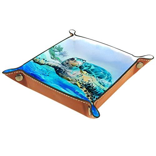 XiangHeFu Bandeja de Cuero Tortuga Marina Nadando Verano Almacenamiento Bandeja Organizador Bandeja de Almacenamiento Multifunción de Piel para Relojes,Llaves,Teléfono,Monedas