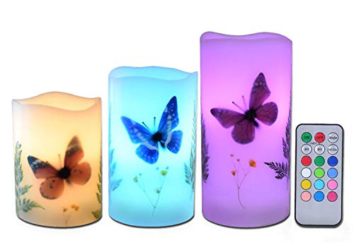 Candles Set of 3 Flameless 4 5 6 Unscented Tealight Butterfly Flower Plants Decor Real Wax Pillar Candle LED Lights 12 Color Changing 4H 8H Timer Remote Control AAA Batteries Operated