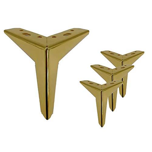 Patas para Muebles Triangulares, pies de Metal para Muebles, Patas de sofá de Repuesto de Estilo Moderno, para sillas, armarios, mesas, pies de Cama, con Tornillos, 4 Piezas
