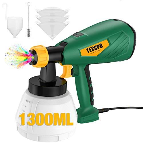 Pistolet à Peinture Électrique,TECCPO 500W Pulvérisateur Peinture,Réservoir 1300ml,Débit Réglable à 800 ml/min,4 Tailles...