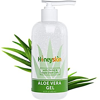 Organic Aloe Vera Gel - 100% Pure Aloe Gel With Manuka Honey - Face and Body After Sun Care - Aloe Leaf Gel for Sunburn and Acne - No Clumping or Pulp - Non Sticky - Made in USA