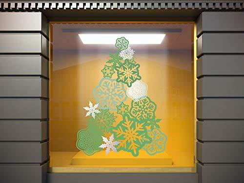 Vinilo Adhesivo Transparente en Efecto Espejo Feliz Navidad Árbol Color Verde  ...