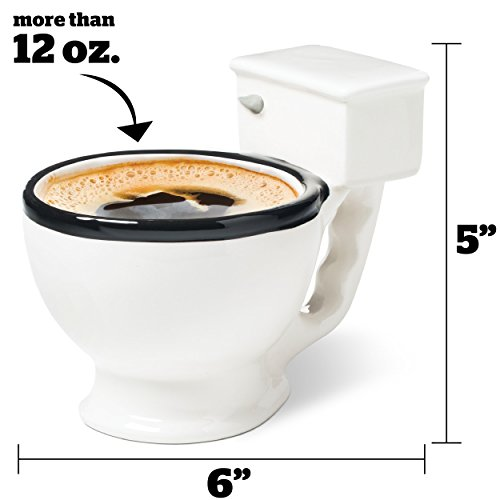 Toilet coffee mug filled with coffee