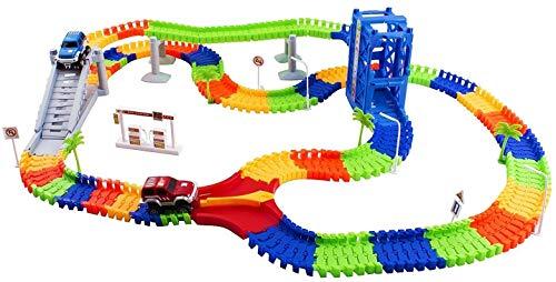 Vokodo Race Car Track Set Toy Educational Twisted Flexible Tracks 240 Pcs 2 Cars...