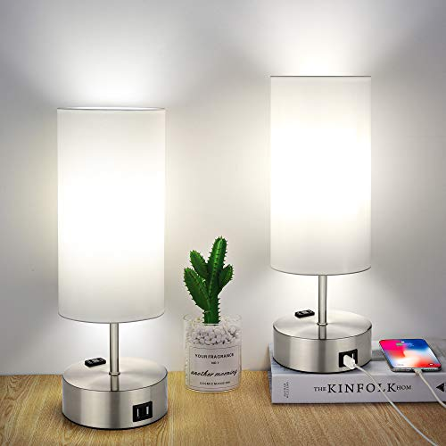 Touch Control Table Lamp, Set of 2 Bedside Lamps, 3 Way Dimmable Nightstand Lamp with Dual USB Ports and AC Outlet for Bedrooms, Living Room, Office (6W 4000K Daylight White LED Bulbs Included)