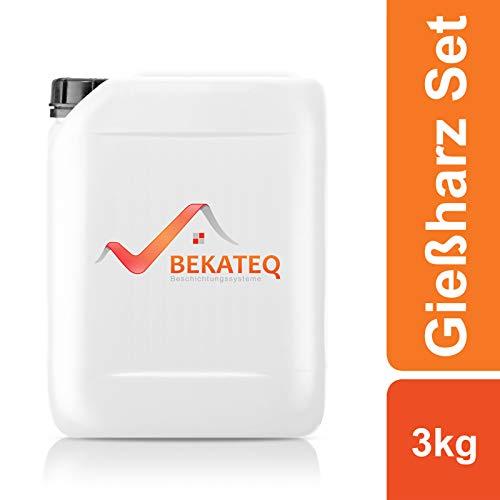 BEKATEQ Epoxidharz Set BK-450EP Gießharz zum ausbessern und reparieren - 3kg Harz, 2kg Sand, 60 Klammern