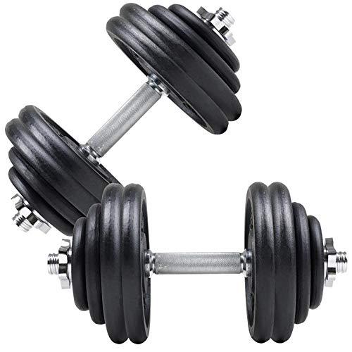 ScSPORTS 60 kg Hantelset Guss, 2X Kurzhantel Chrom 42 cm, Hantelscheiben 8X 5kg, 4X 2,5kg, 4X 1,25kg, Kurzhantelset