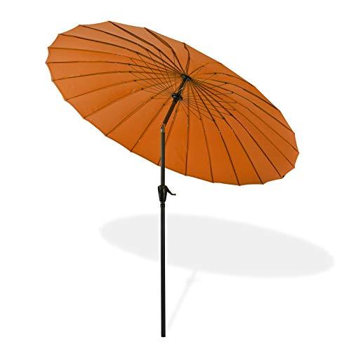 TronicXL Premium Sonnenschirm 2,5 m Meter Alu Aluminium + Metall Gestänge Überdachung Pool Garten Gartenschirm Sonne Sonnenschutz Japan Style modern Asia Asien Deko Stil asiatisch orange Terracotta