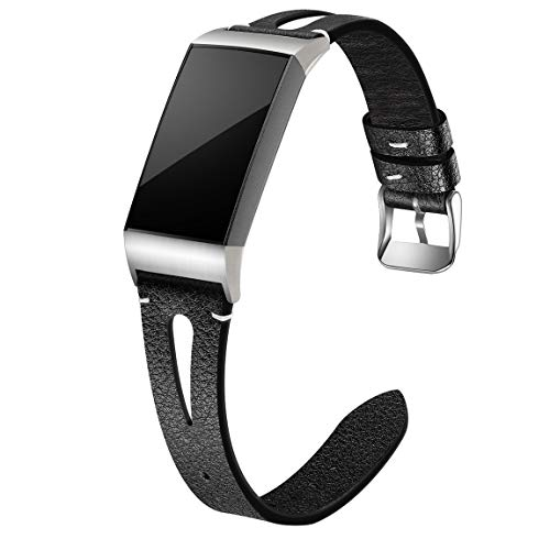 Maledan Compatible for Fitbit Charge 3 and Fitbit Charge 4 Bands Women Men, Slim Genuine Leather Band Replacement Accessories Strap for Charge 4/Charge 3/Charge 3 SE Bands, Small, Black