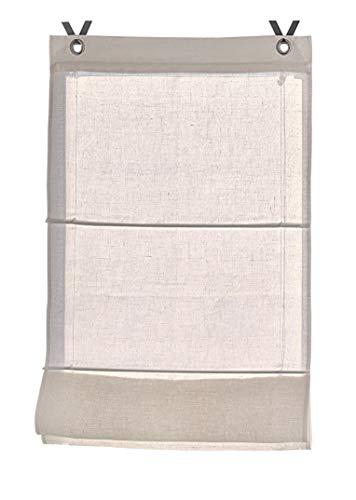 Raffrollo/Ösenrollo Metis Creme 100% Leinen ca. 100 * 140 cm, Creme