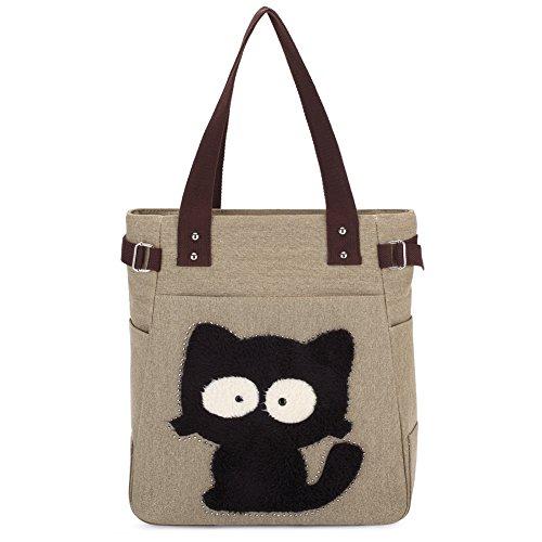 KAUKKO Women Canvas Tote Bag Big Cat Handbag (Khaki)