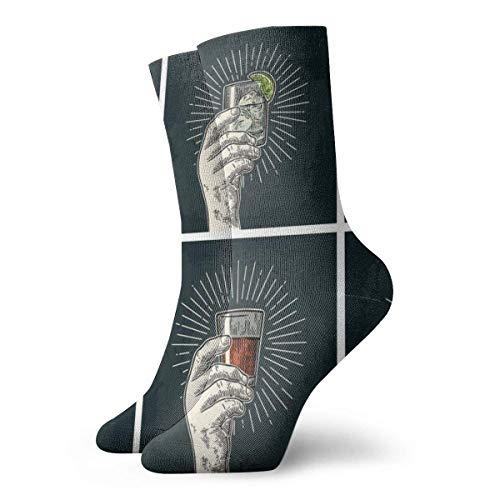 Elsaone Männliche Hand hält Glas mit Brandy, Tequila, Gin, Wodka, Rum, Whisky Mode Lange Socken Soft Warmer Strümpfe 1 Paar für Damen & Herren Sportsocken 30cm