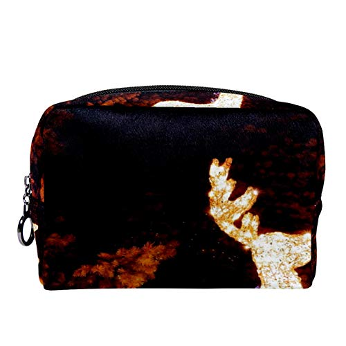 Cosmetic Bag Womens Makeup Bag for Travel to Carry Cosmetics,Change,Keys etc Christmas Reindeer