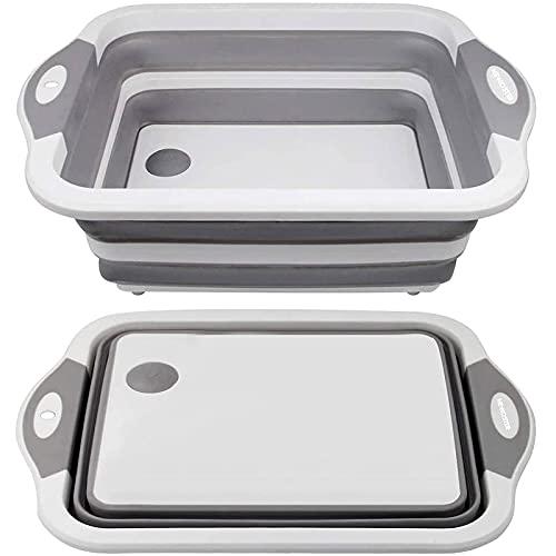Planche à découper pliable – Planche à découper multifonction, égouttoir de lavabo et bol à laver, bouchon d'égouttement, ciseaux de cuisine portable pour camping, pique-nique, barbecue (grise)