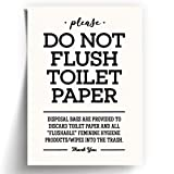 5x7' *UNFRAMED PRINT* Please Do Not Flush Toilet Paper Bathroom Sign for Septic System Sensitive Plumbing No Feminine Sanitary Products Tampons Towels Decor Restaurant Office Cute Disposal Bags