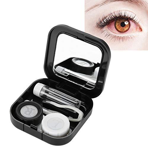 Kontaktlinsenbehälter,2Colors tragbare Cartoon-Muster-Kontaktlinsen-Etui-Augenpflege-Kit mit Spiegel (1#)