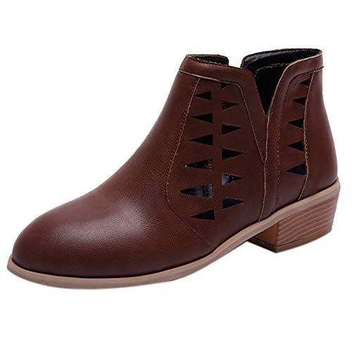 ZODOF Bota de tacón Alto Estudiante Martin Boots Bare Boots Botas Cortas de Mujer