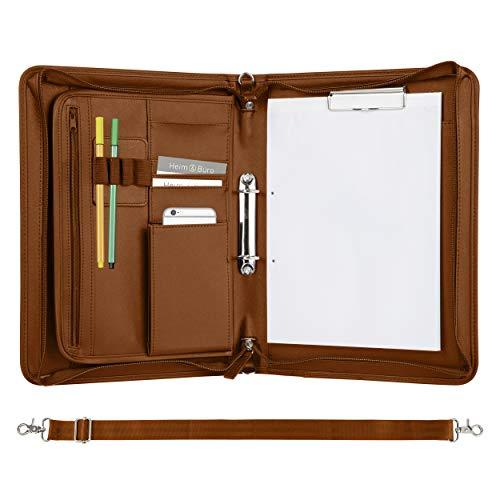 ONVAYA carpeta de conferencias A4 | marrón| plata | carpeta de negocios | maletín | maletín de escritura con bloc | imitación de piel duradera | carpeta de documentos