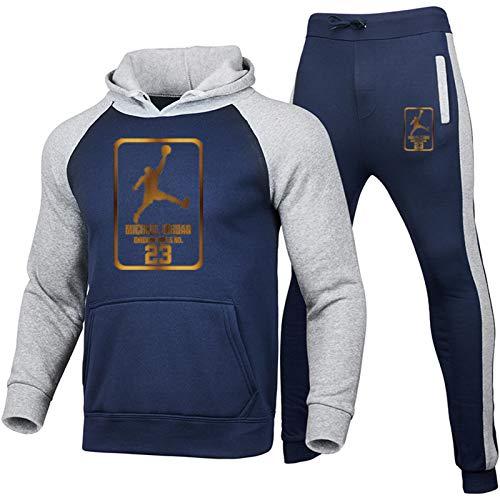 Juego de chándales para Hombre Jordan, 23# Baloncesto Jersey Botting Botting Sudaderas con Capucha Traje Deportivo de Manga Larga Transpirable y cómodo (S-XXXL) Blue-S