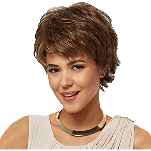 Yuyanshop Pixie corte peluca con flequillo corte en capas pelucas rizadas naturales pelo sin tapa peluca gruesa de las mujeres (marrón)