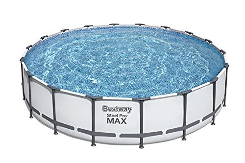 "Bestway 56463 Steel Pro MAX 18' x 48""/5.49m x 1.22m Set Above Ground Frame Pools, Gray"