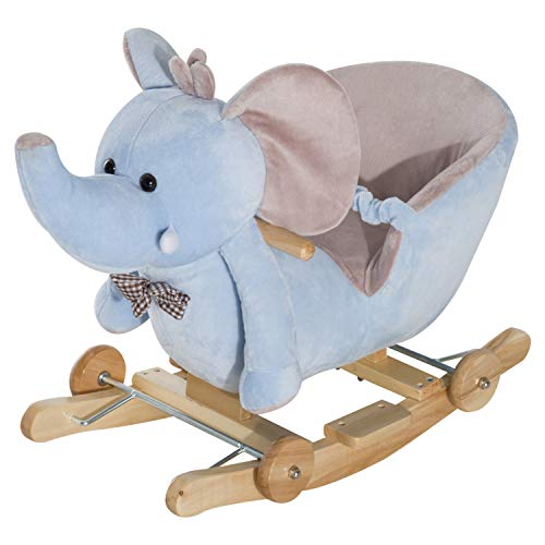 HOMCOM Baby Ride on Rocking Juguete de Madera para niños 2 en 1 Elefante de Peluche con Ruedas y 32 Canciones, Azul