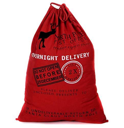 Rucae - Saco de Papá Noel (tamaño extragrande), Rojo, 70cm*50cm