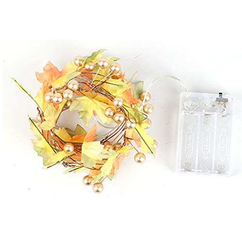 YYYY Christmas Tree Lights,2m Maple Leaf Lights,Orange Fairy Lights, Autumn Garland Decorations,Indoor String Lights,Battery-Powered Christmas and Thanksgiving Decoration Lights 4