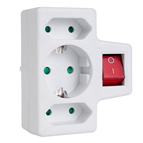 Toma de corriente triple con interruptor enchufe adaptador, 1x16A 2x2,5A conector