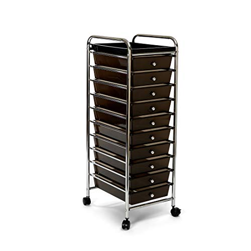 Seville Classics 10-Drawer Multipurpose Mobile Rolling Utility Storage Organizer with Tray Cart, Black