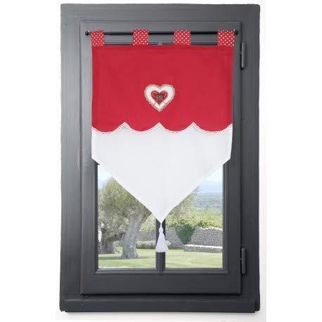 Stof Rideau Brise-bise déco cœur LYNA60 x 90 cm