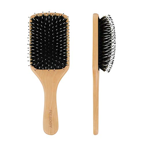 FIXBODY Hair Brush with Boar Bristle, Natural Wooden Handle Large Paddle Hairbrush Detangling and Styling All Hair Types for Women Men and Kids (Square)