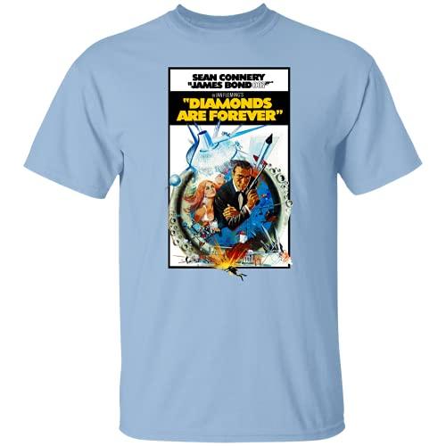 DIANNAO Mens T-Shirt Diamond Are Forever, James Bond, 007, Sean Connery, Dr. No, Goldfinger Outdoor Graphic T-Shirt Light Blue l